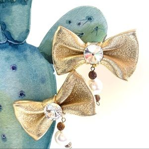 🌸🌵🌼Vintage Gold Bow Clip-On Earrings